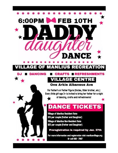 Daddy Daughter Dance Deadline this Friday January 27th!
