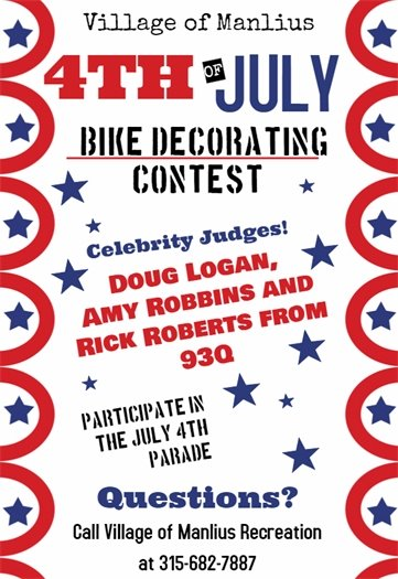 The Village of Manlius will be having our annual July 4th Bike Decorating Contest!