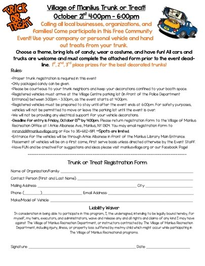 Trunk or Treat Registration Form
