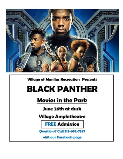 Black Panther June 26th - Movies in the Park FREE ADMISSION